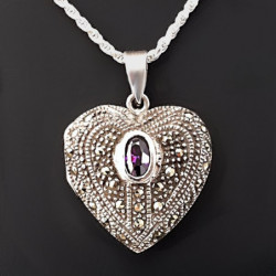 "Heart Locket ""Marcasite & Amethyst"""