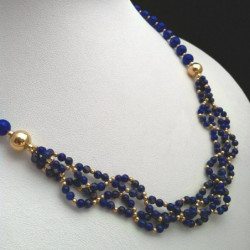"Necklace ""Braided Beads"" Lapis lazuli and Goldfilled"