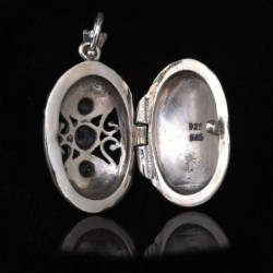 "Locket Pendant ""Three Stones"" Onyx & Marcasites"