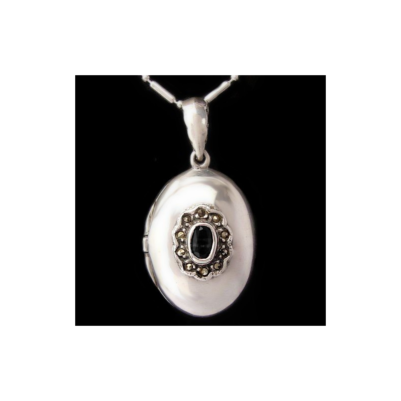 "Locket Pendant ""Oval Delight"" Onyx & Marcasites"