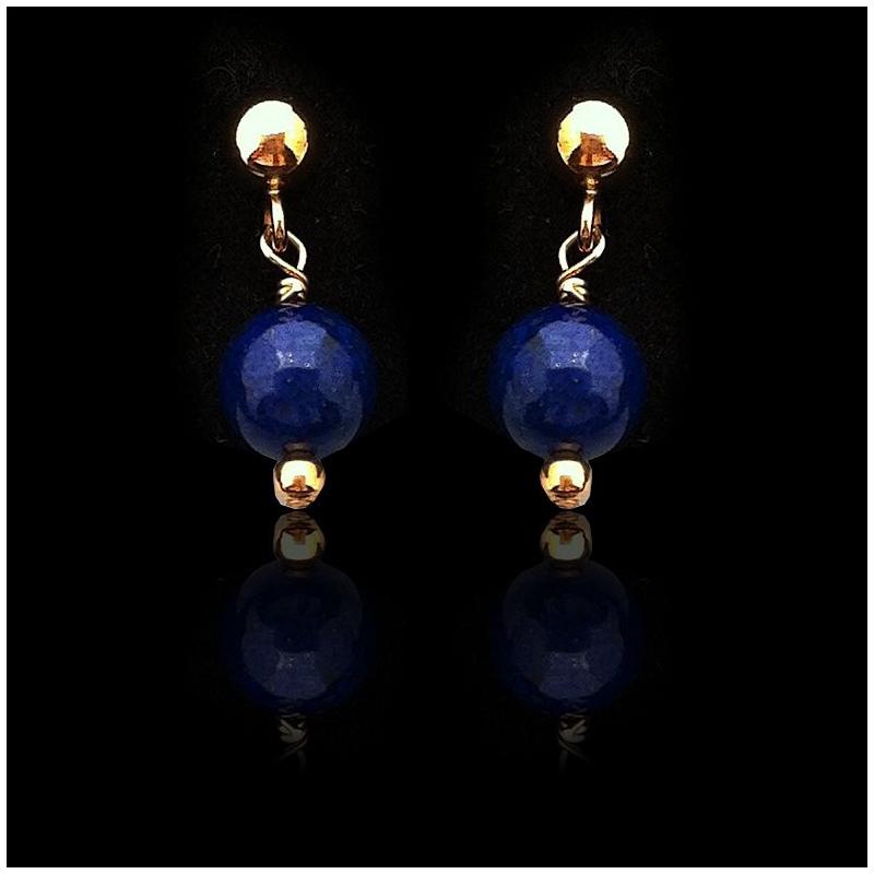 """Orecchini """"Lapis lazuli Perline e Oro Placcato"""" Piccolo"""