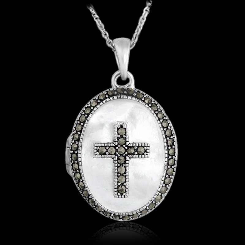 """Locket Pendant Oval """"Mother of Pearl & Marcasite Cross"""""""