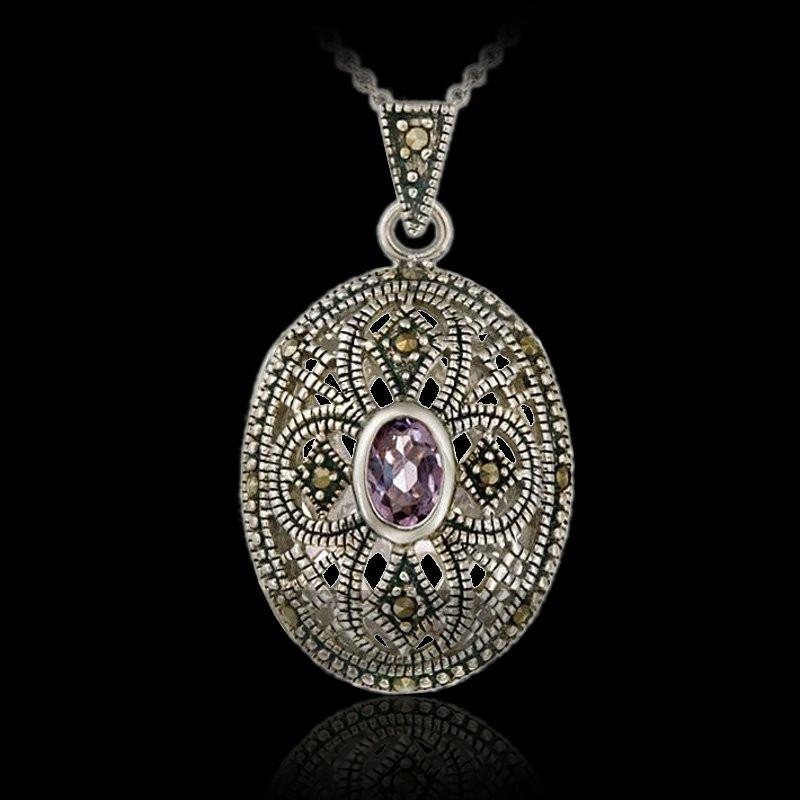 "Locket Pendant ""Princess Penelope"" Marcasite"