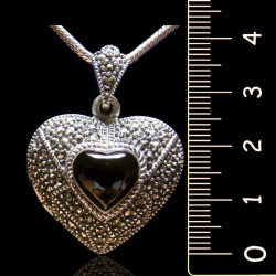"Locket Pendant ""Queen Elizabeth"" Onyx & Marcasites Big"