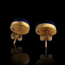 "Earrings ""Coffee Grain shape"" 18K Gold Lapis lazuli-Malachite"