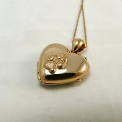 Zampa di cane cuore oro 18k portaricordi ciondolo portafoto