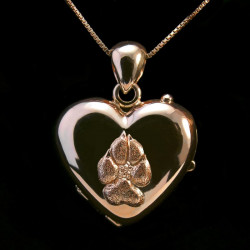 Locket pendant heart shape gold paw pad dog