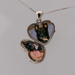 Locket pendant heart shape white 18ct gold paw pad dog