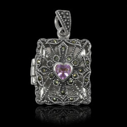 "Locket Pendant sterling silver ""Queen Augusta"" Amethyst & Marcasite"
