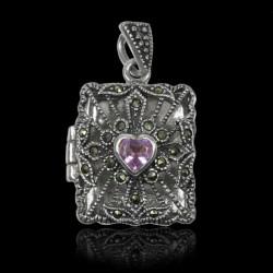 "Locket Pendant sterling silver ""Queen Augusta"" Amethyst & Marcasite"