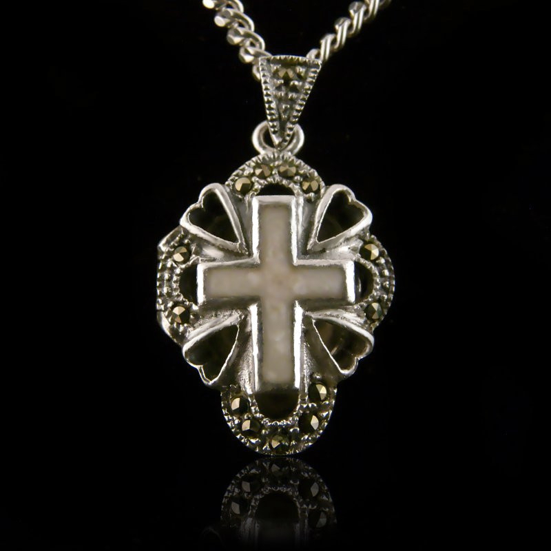 """Locket Pendant """"Cross 4 Hearts with Mother of Pearl"""""""