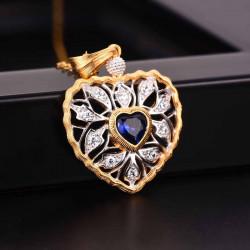 """""""Cœur de la nature"""" pendentif en argent massif doré saphir / rubis"""