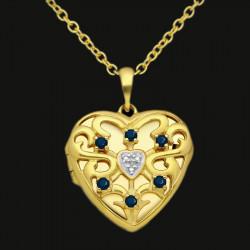 cœur de dragon - Médaillon coeur en argent sterling plaqué or avec pierres cz, rubis, émeraudes ou saphirs foncés