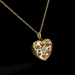 """""""Corazón de dragón""""-colgante portafoto en plata con oro piedras esmeraldas, zafiros, rubíes"""