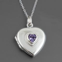 Pendentif médaillon en forme de coeur avec une pierre améthyste