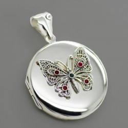 "Locket pendant ""Butterfly"" big size sterling silver"
