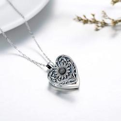 """Sunflower heart""  Handmade Keepsake Locket Pendant solid Sterling Silver for photos"