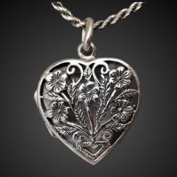 """""""Flores nomeolvides"""" relicario portafoto en plata corazon"""
