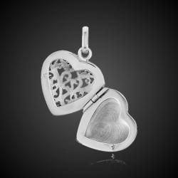 Corazón abierto filigrana relicario calado plata solida