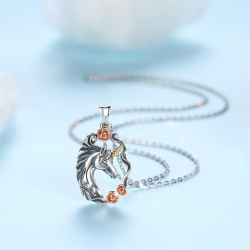 """""""Unicorn with roses"""" pendant in 925 sterling silver"""