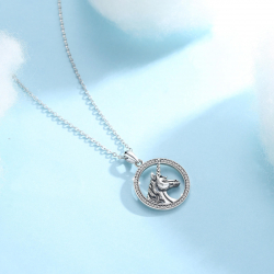 Unicorn pendant with stars in sterling silver 925