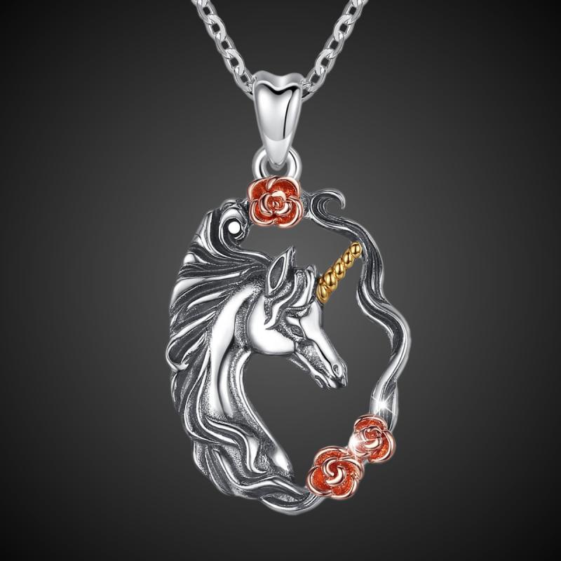 """Colgante """"Unicornio con rosas"""" plata sólida 925"""
