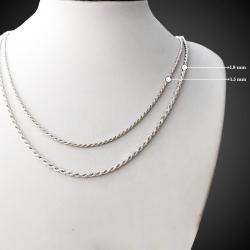 """Catena """"Corda"""" Sfaccettata realizzata in argento sterling 925 massiccio"""